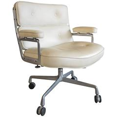 Charles Eames Time Life White Leather Chair