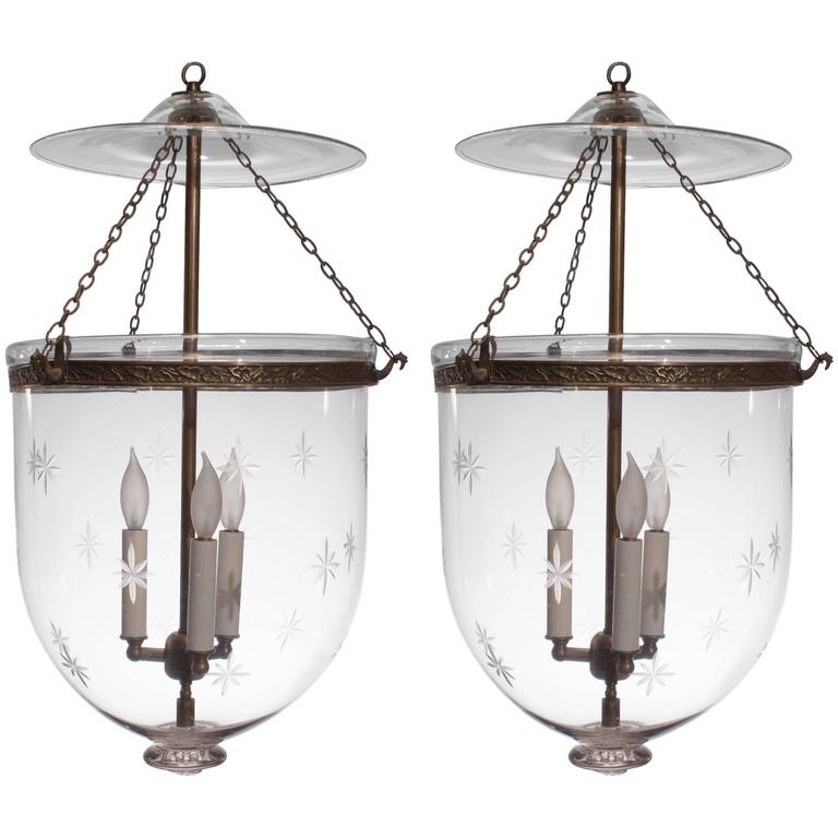 Pair Of Large 19th Century English Bell Jar Lanterns With