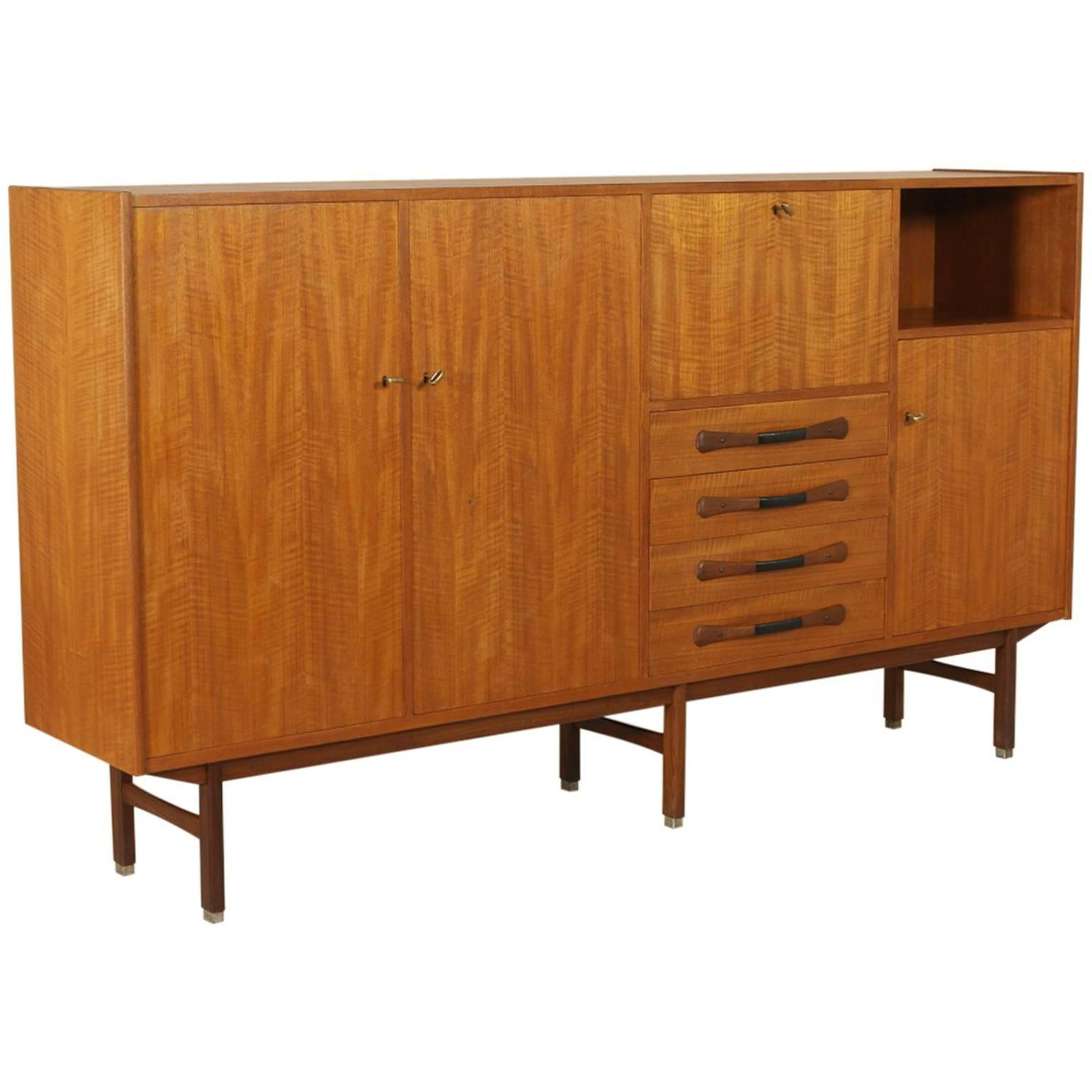 teak veneered highboard vintage manufactured in italy. Black Bedroom Furniture Sets. Home Design Ideas