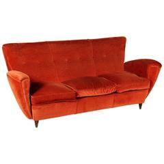 Three-Seat Sofa Foam Springs Velvet Vintage Manufactured in Italy, 1950s