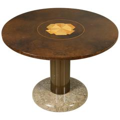 Coffee Table by Bartoli Del Pezzo Burnished Metal Marble, Vintage 1980s