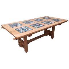1970s Oak Table by Guillerme et Chambron, Ceramics by Danikowski