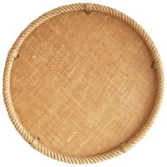 Rope and Raffia Mesh Resin Tray by Audoux Minet, France, 1960s