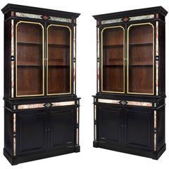 Pair of Napoléon III Style Ebony and Pietre Dure Bookcases