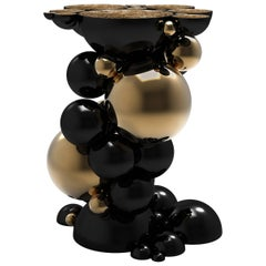 Spheres Side Table with Aluminium Black and Gold Spheres