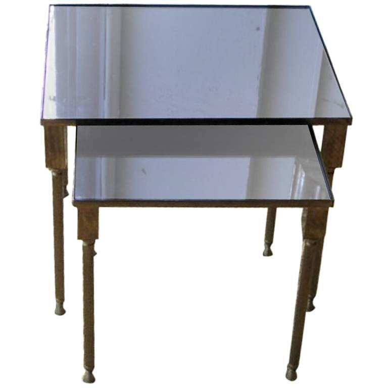Set of Two French Mid-Century Modern Neoclassical Nesting Tables Attr. Jansen