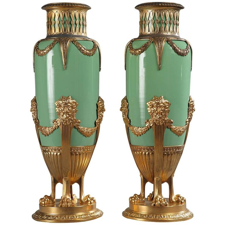 Late 19th Century Green Jade And Gilt Brass Vases For Sale At 1stdibs