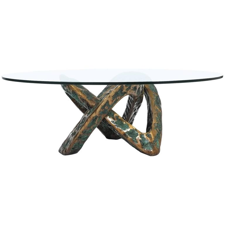 Sculptural Brutalist Mobius Bronze Table, circa 1955 1