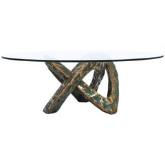 Sculptural Brutalist Mobius Bronze Table Mid Century