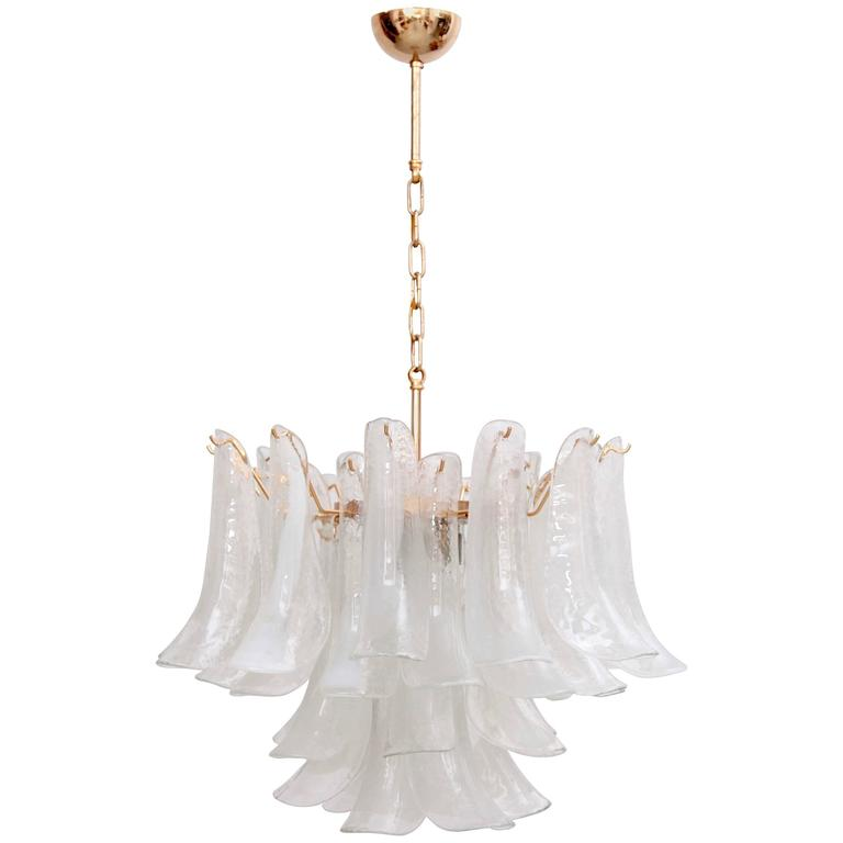 Extra Large Murano Chandelier with Gold-Plated Base, Italy, 1970s
