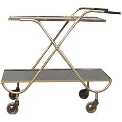 Italian 1950s Drink Cart in Brass and Black Glass