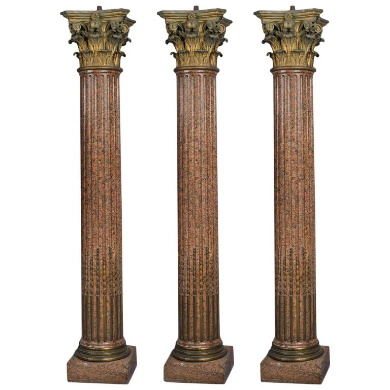 Set Of Three Neoclassical Style Rose Granite Corinthian