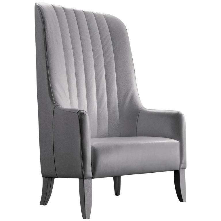 Imperial Armchair in Leather and Wood Structure For Sale