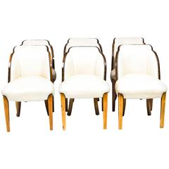 Antique Art Deco Set of Six Burr Walnut Cloudback Chairs, circa 1930