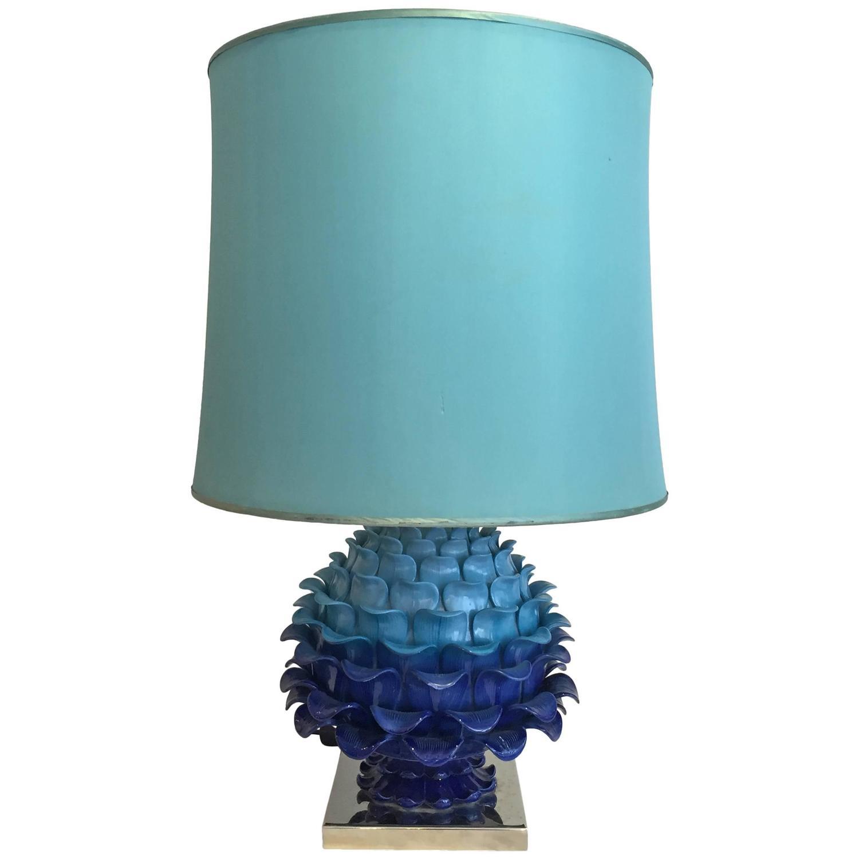 1970s blue ceramic table lamp at 1stdibs. Black Bedroom Furniture Sets. Home Design Ideas