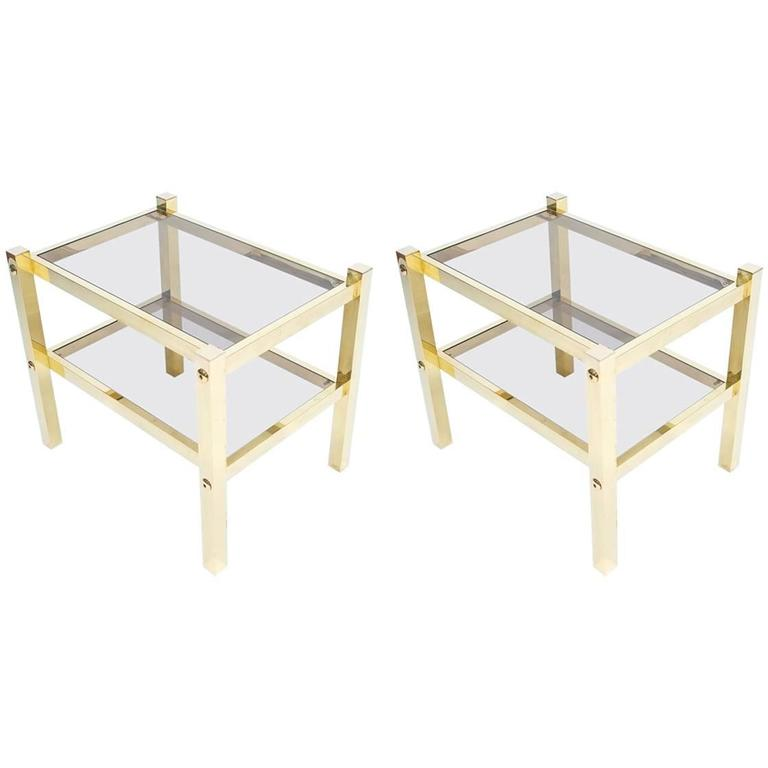 Pair of Brass End Tables, circa 1960 For Sale