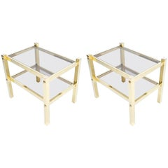 Pair of Brass End Tables, circa 1960