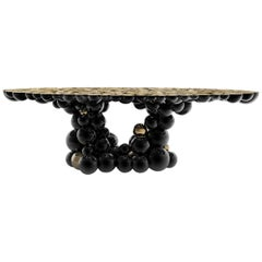 Spheres Table with Aluminium Black and Gold Spheres