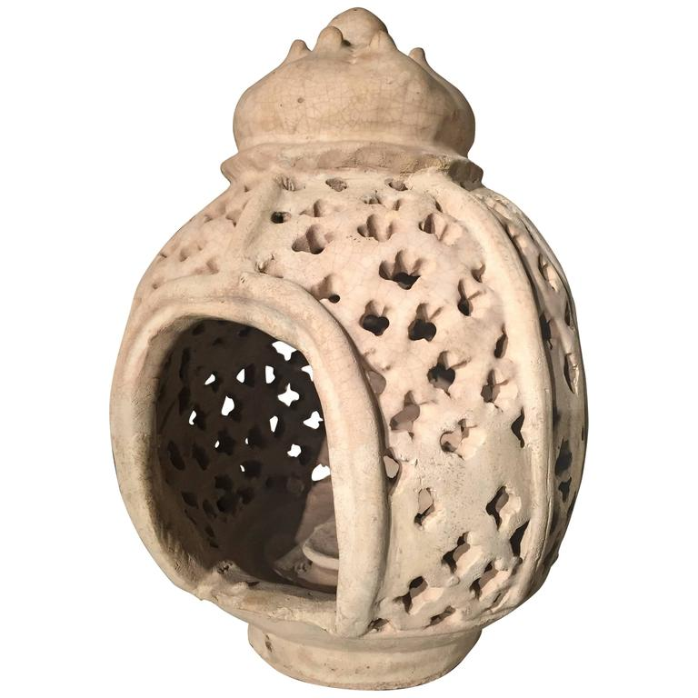 Ceramic Candle-Essence Burner, White, Thailand, 15th Century For Sale