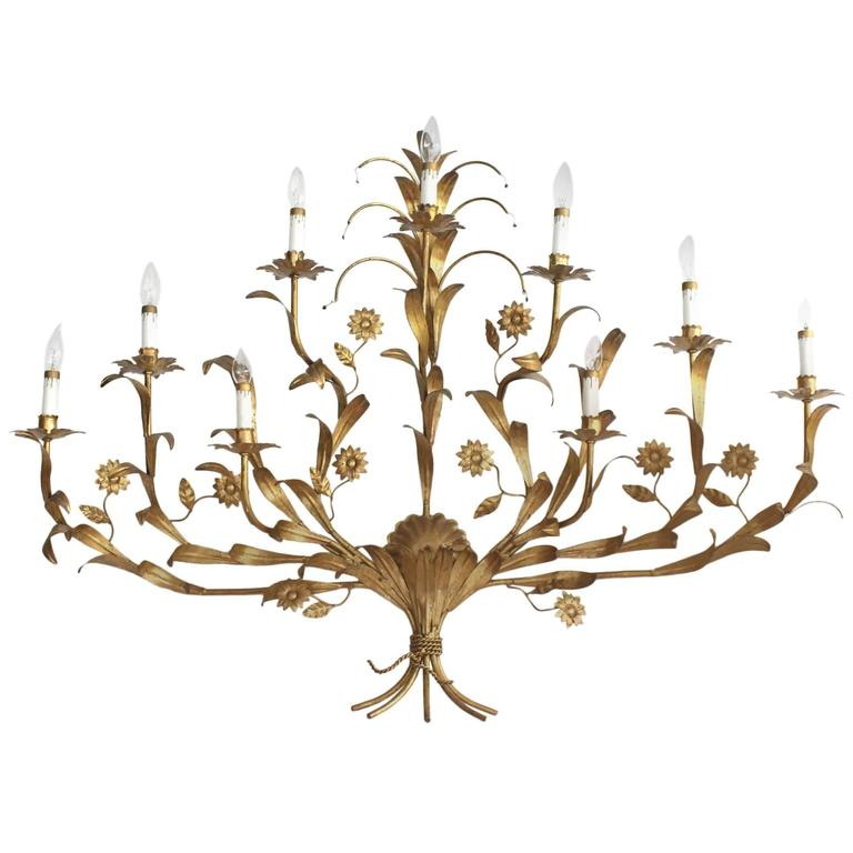 Gilded Metal Leaf and Flower Wall Sconce Light Fixture