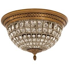 Arabesque Ceiling Lamp Polished Vintage Brass and Crystal Glass