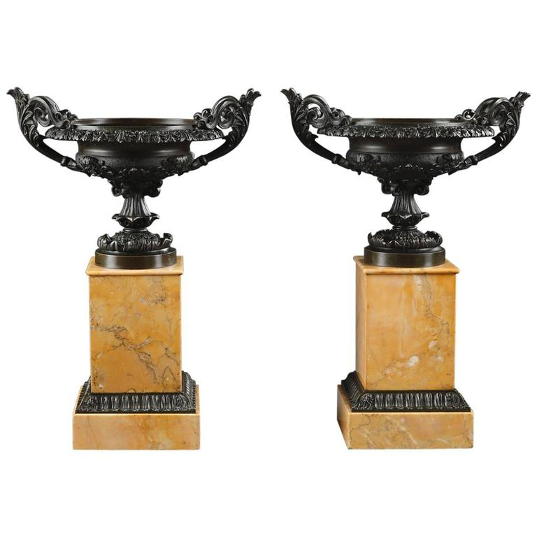 Pair of Brown Patina Bronze Louis-Philippe Cassolettes on Sienna Marble Base  For Sale