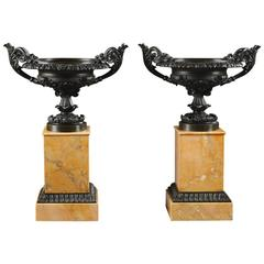 Pair of Brown Patina Bronze Louis-Philippe Cassolettes on Sienna Marble Base