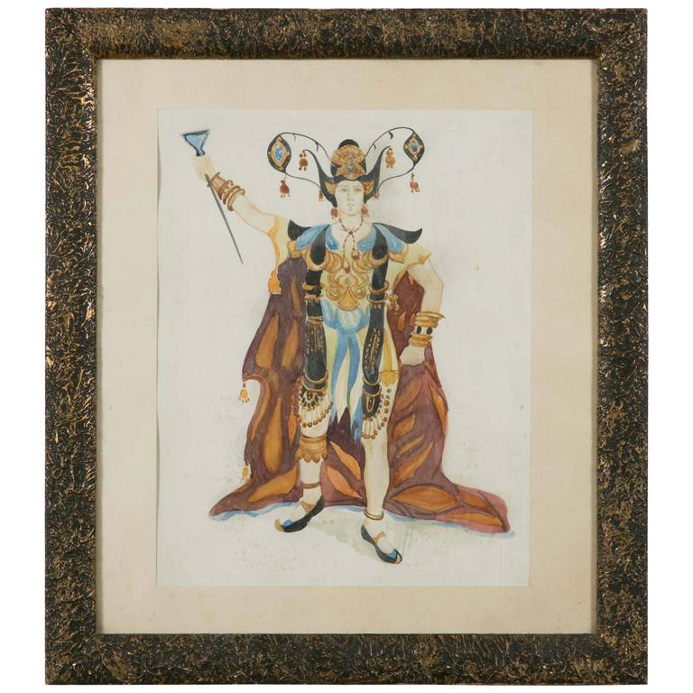 Exceptional Original Theatre Costume Design by Léon Bakst, 1905-1910 For Sale
