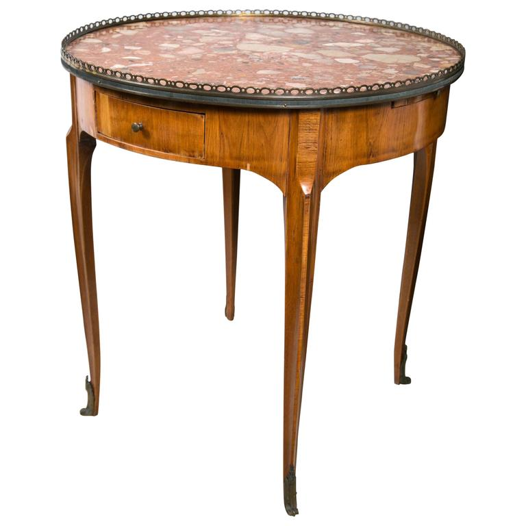Marble-Topped Galleried Gueridon Table