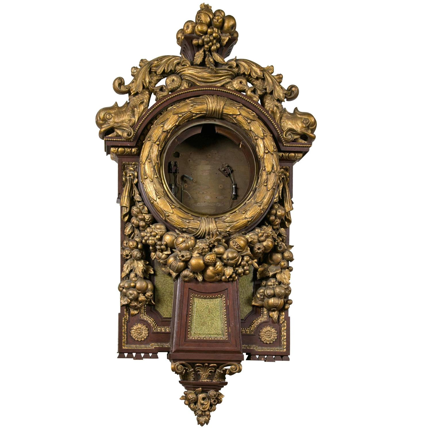 Unusual wall hanging clock case for sale at 1stdibs Unique clocks for sale