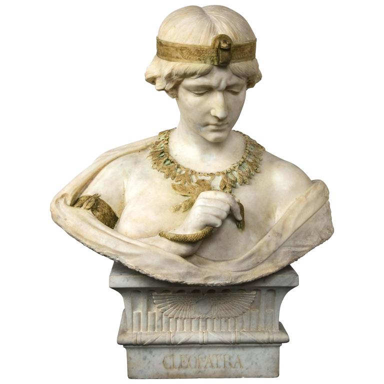 Marble Bust of Cleopatra For Sale
