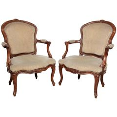 Pair of Carved Louis XV Fauteuil