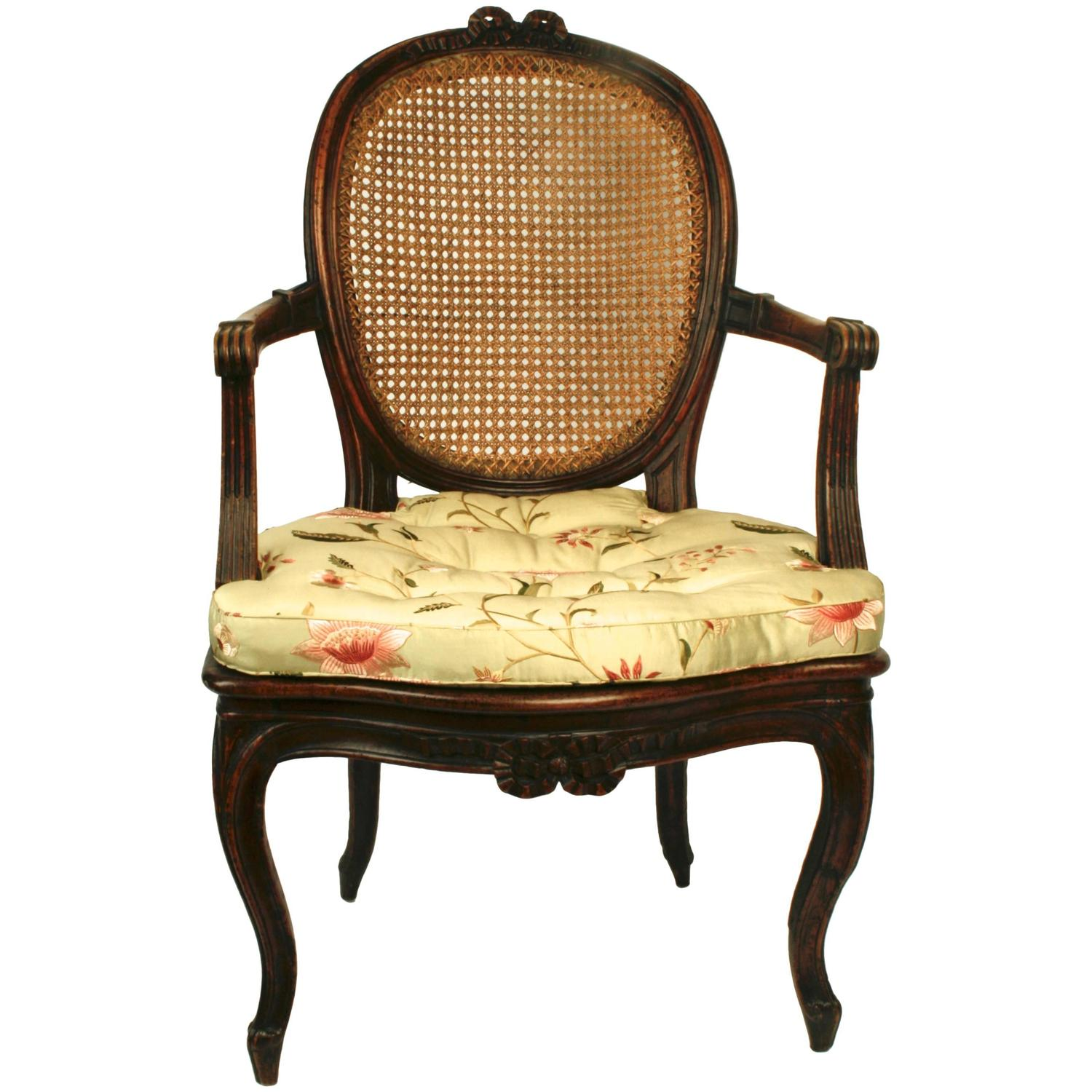 Louis xv carved and caned fauteuil en cabriolet circa - Fauteuil cabriolet louis xv ...