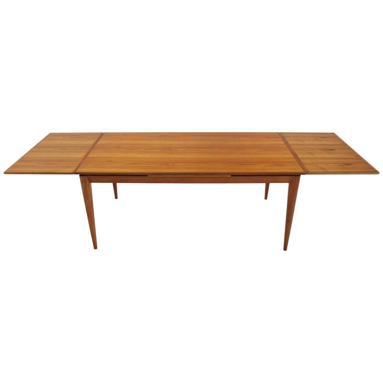 Heavy Tapered Legs Danish Modern Teak Table For Sale