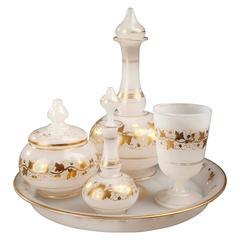 Napoleon III White Opaline Water Set, 19th Century