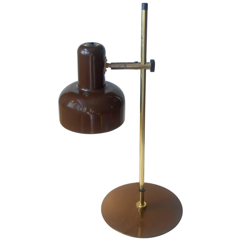 Jo Hammerborg 'Peanut' Chocolate Brown and Brass Table Lamp Fog & Mørup, 1970s