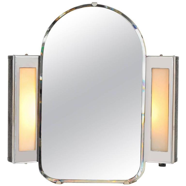 1930s Art Deco US Illuminated Vanity Mirror