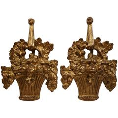 Pair of Italian Decorative Wood Carved Baskets with Gilt Finish