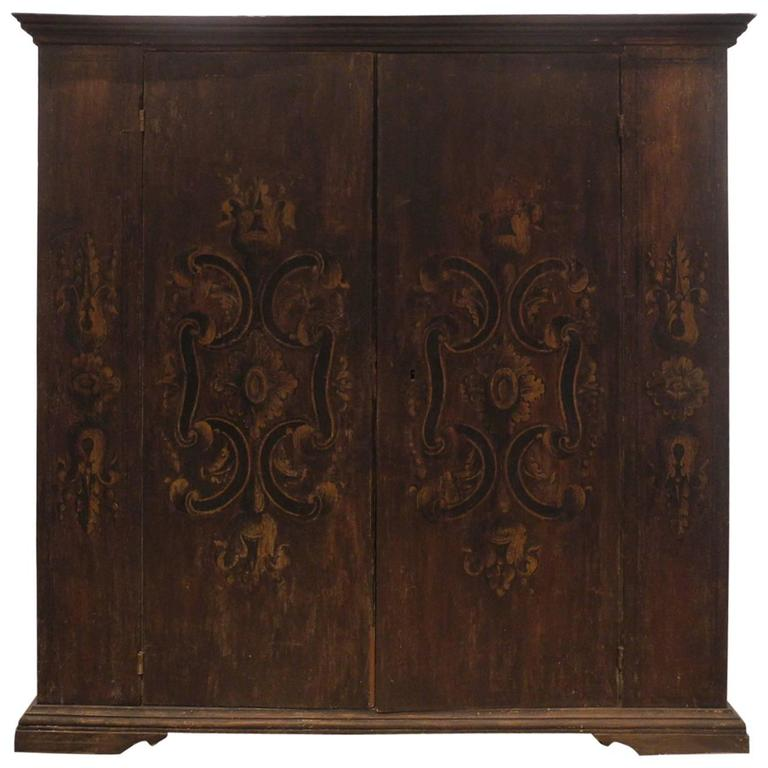 Large Antique Wooden Umbrian Cabinet with Intricately Painted Design 1