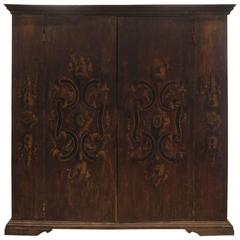 Large Antique Wooden Umbrian Cabinet with Intricately Painted Design