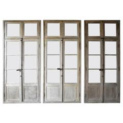 Antique, Reclaimed Large Wooden Windows from Sisteron with Natural Wood Finish