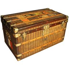 1880s Striped Louis Vuitton Courrier Steamer Trunk