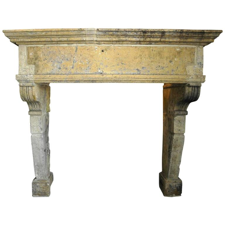 antique large mantel with carved legs for