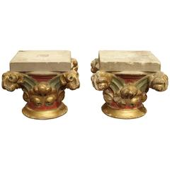 Pair of Small Painted Antique Stone Capitals from France, 1800s