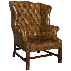 Antique English Distressed Leather Wing Chair