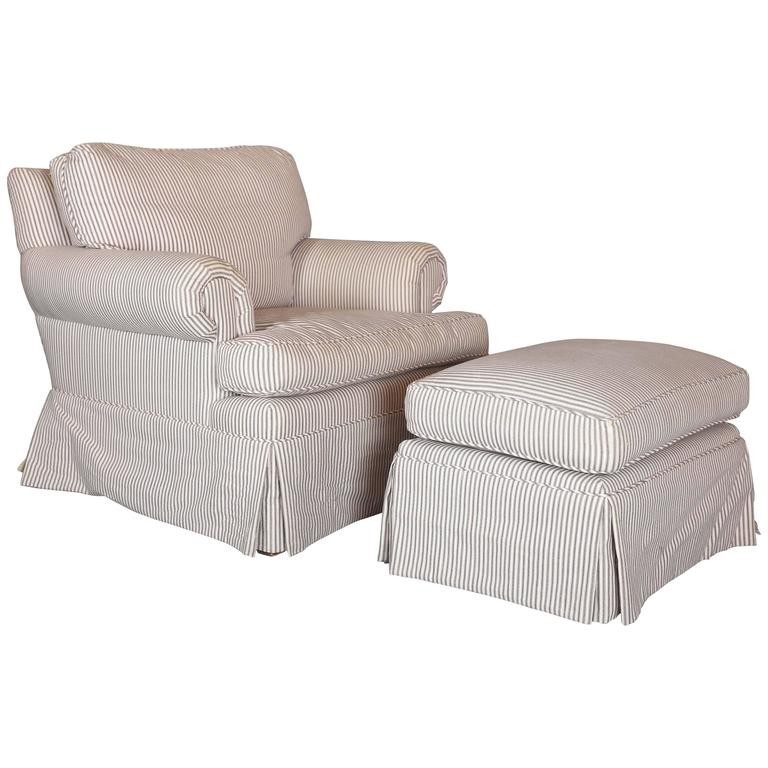 Custom Down Filled Skirted Club Chair And Ottoman In
