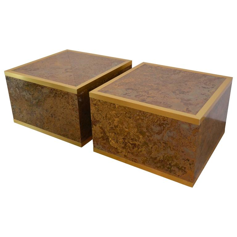 Faux Tortoise Shell And Brass Cube Tables By Lane At 1stdibs