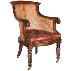 English George IV Regency Period Mahogany Library Chair