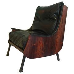 Carlo de Carli Rosewood and Leather Armchair, circa 1960s-1970s