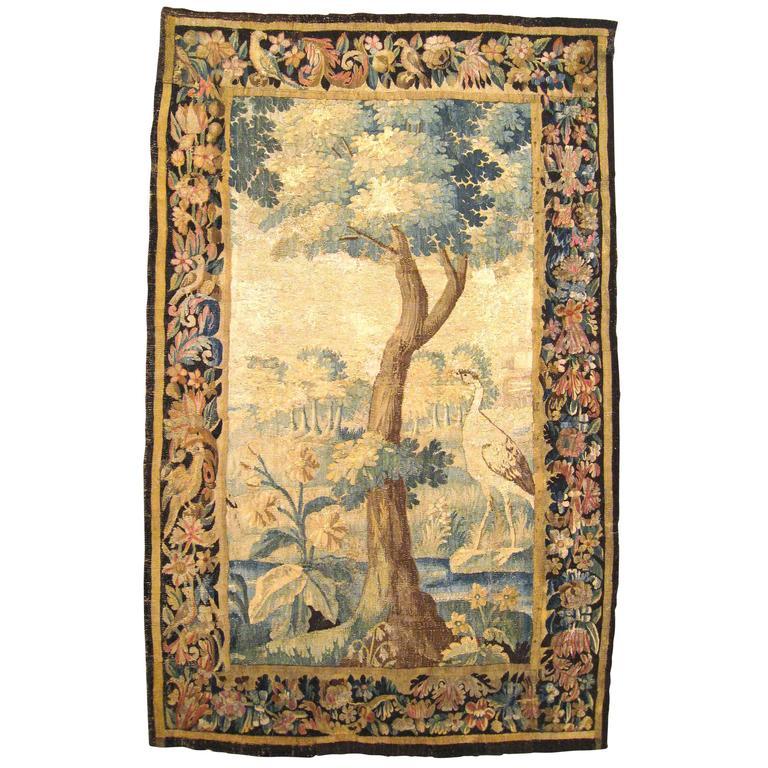 Antique Flemish Verdure Landscape Tapestry Panel, w/ Large Tree & Foliate Border For Sale